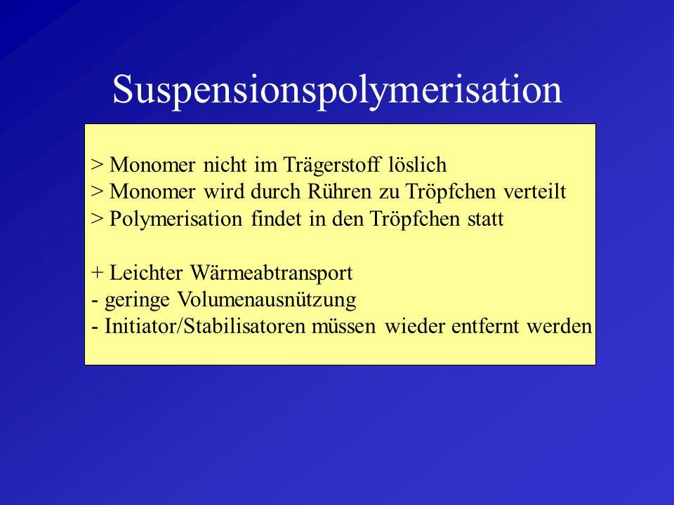 Polymerisationsverfahren - Suspensionspolymerisation - Massepolymerisation - Lösungspolymerisation - Fällungspolymerisation