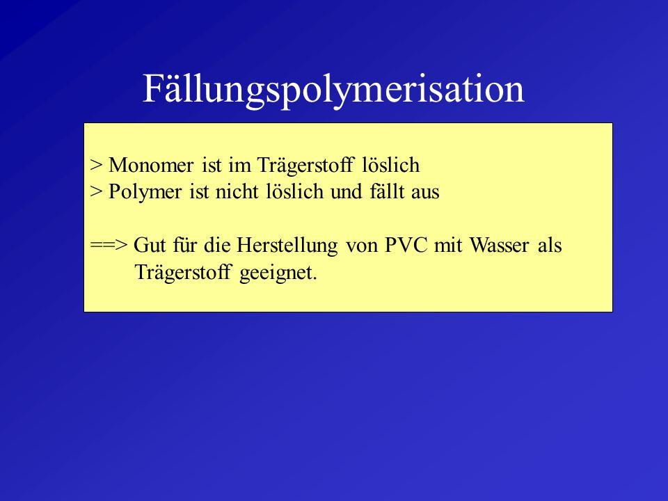 Lösungspolymerisation > Monomer ist im Trägerstoff löslich > Polymer ist im Trägerstoff löslich + guter Wärmeabtransport + Viskosität bleibt niedrig -