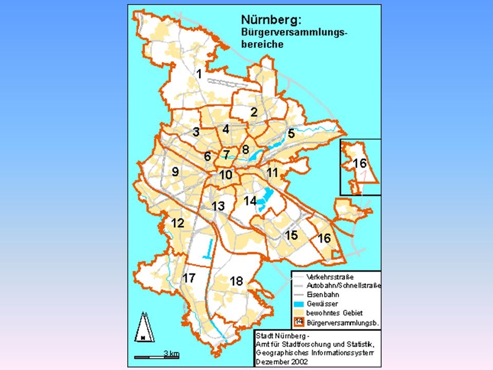 Bürgerversammlungsbereich 12 Stand 31.12.2007 Ausländer Altersgruppen in %Erwerbsbeteiligung BezirkBezeichnungFlächeBevölkerungZahlAnteil0-1516-60> 6015-65BeschäftigteArbeitsloseAnteil 47Maiach502,811090908,26%11,50%66,20%22,20%768444354,60% 51 Röthenbach West152,1386717468,60%10,30%54,80%35,00%534929933306,20% 52Röthenbach Ost212,16106869448,83%11,90%57,80%30,30%670137043405,10% 53Eibach319,9184965997,05%12,50%54,70%32,90%518527522234,30% 61Gebersdorf227,3943312796,44%12,40%57,70%30,10%270614781184,40% Gesamt1414,43327426587,99%11,69%56,49%31,90%207091137110465,10% Gesamtstadt18654,784962998838117,81%12,20%61,80%26,00%330166165506253177,70%