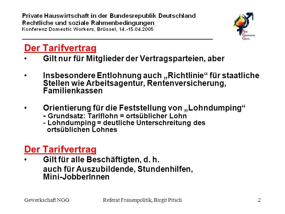 Gewerkschaft NGGReferat Frauenpolitik, Birgit Pitsch3 Gesetzliche Regelungen Kündigungsschutz Gilt nur für Betriebe mit mehr als 10 Beschäftigte - d.h.