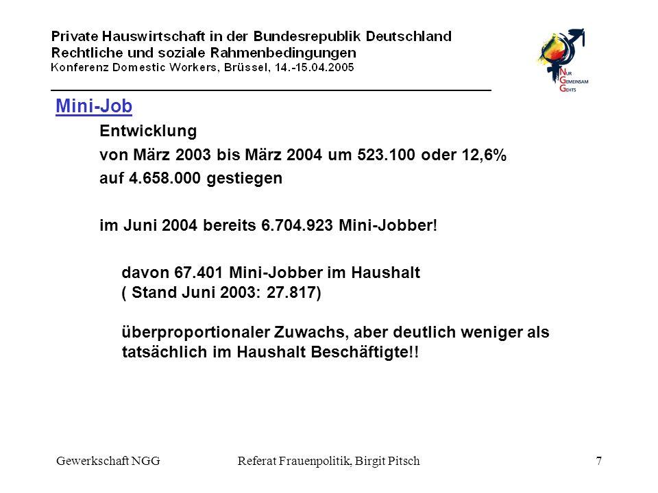 Gewerkschaft NGGReferat Frauenpolitik, Birgit Pitsch7 Mini-Job Entwicklung von März 2003 bis März 2004 um 523.100 oder 12,6% auf 4.658.000 gestiegen i