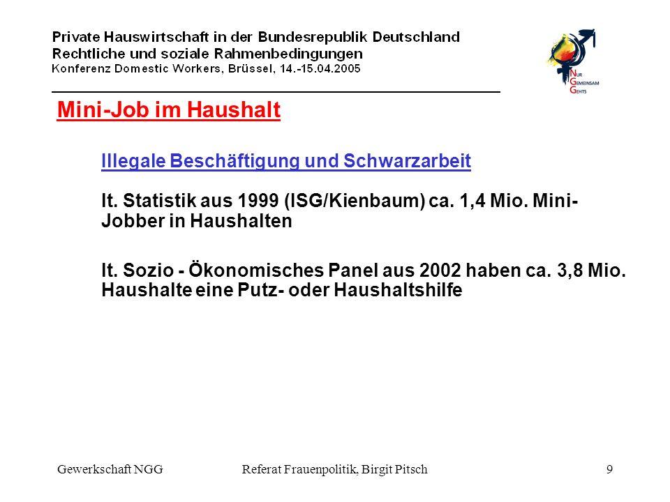 Gewerkschaft NGGReferat Frauenpolitik, Birgit Pitsch9 Mini-Job im Haushalt Illegale Beschäftigung und Schwarzarbeit lt. Statistik aus 1999 (ISG/Kienba