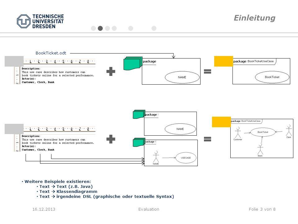 16.12.2013EvaluationFolie 3 von 8 Weitere Beispiele existieren: Text Text (z.B. Java) Text Klassendiagramm Text irgendeine DSL (graphische oder textue