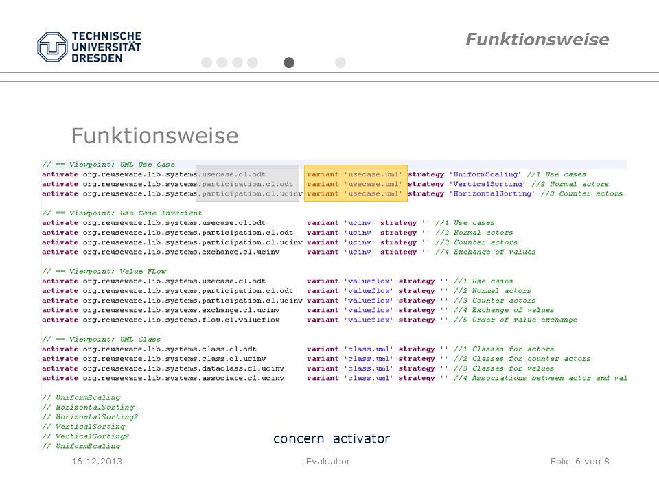 Funktionsweise concern_activator 16.12.2013EvaluationFolie 6 von 8 Funktionsweise