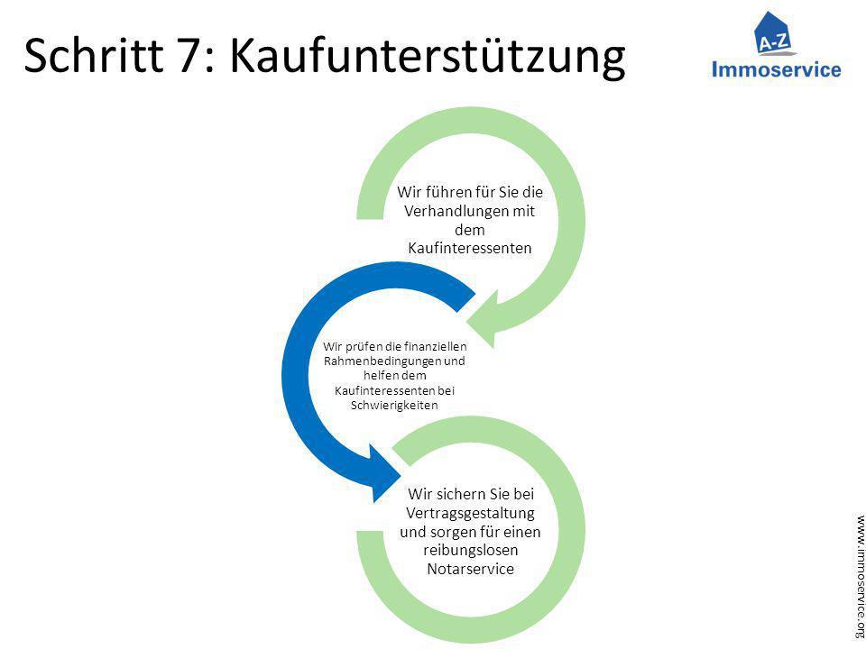 www.immoservice.org Schritt 7: Kaufunterstützung Wir führen für Sie die Verhandlungen mit dem Kaufinteressenten Wir prüfen die finanziellen Rahmenbedi