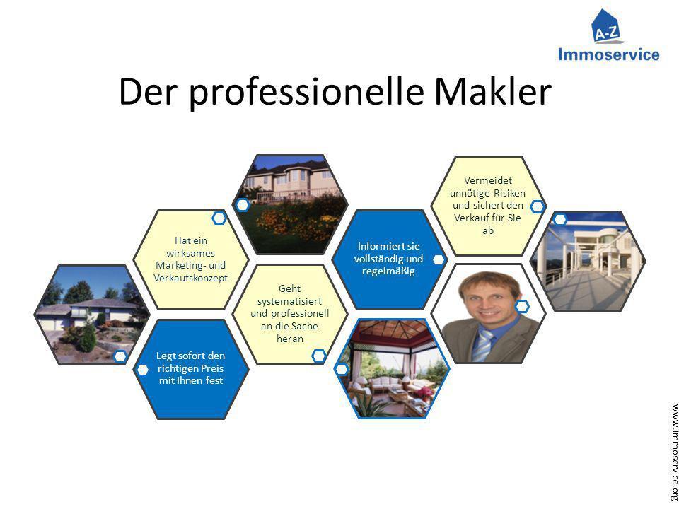 www.immoservice.org Der professionelle Makler Legt sofort den richtigen Preis mit Ihnen fest Geht systematisiert und professionell an die Sache heran