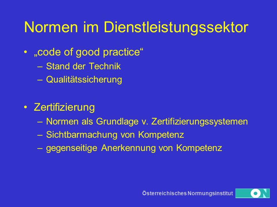 Österreichisches Normungsinstitut Normen im Dienstleistungssektor code of good practice –Stand der Technik –Qualitätssicherung Zertifizierung –Normen