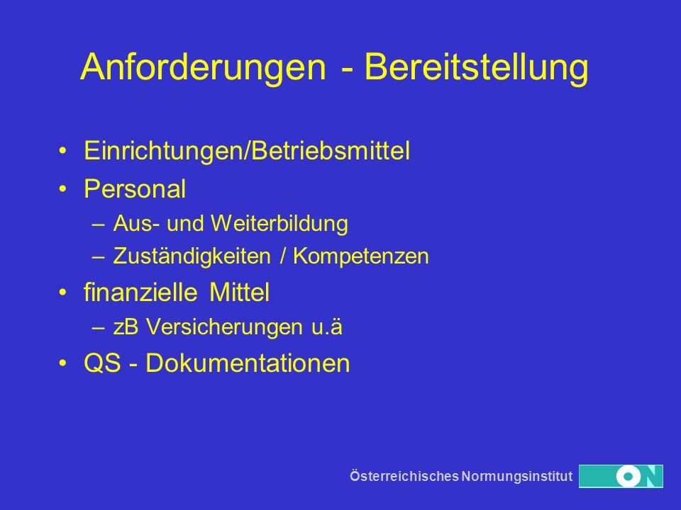 Österreichisches Normungsinstitut Anforderungen - Bereitstellung Einrichtungen/Betriebsmittel Personal –Aus- und Weiterbildung –Zuständigkeiten / Komp