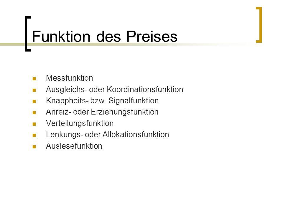 Funktion des Preises Messfunktion Ausgleichs- oder Koordinationsfunktion Knappheits- bzw. Signalfunktion Anreiz- oder Erziehungsfunktion Verteilungsfu
