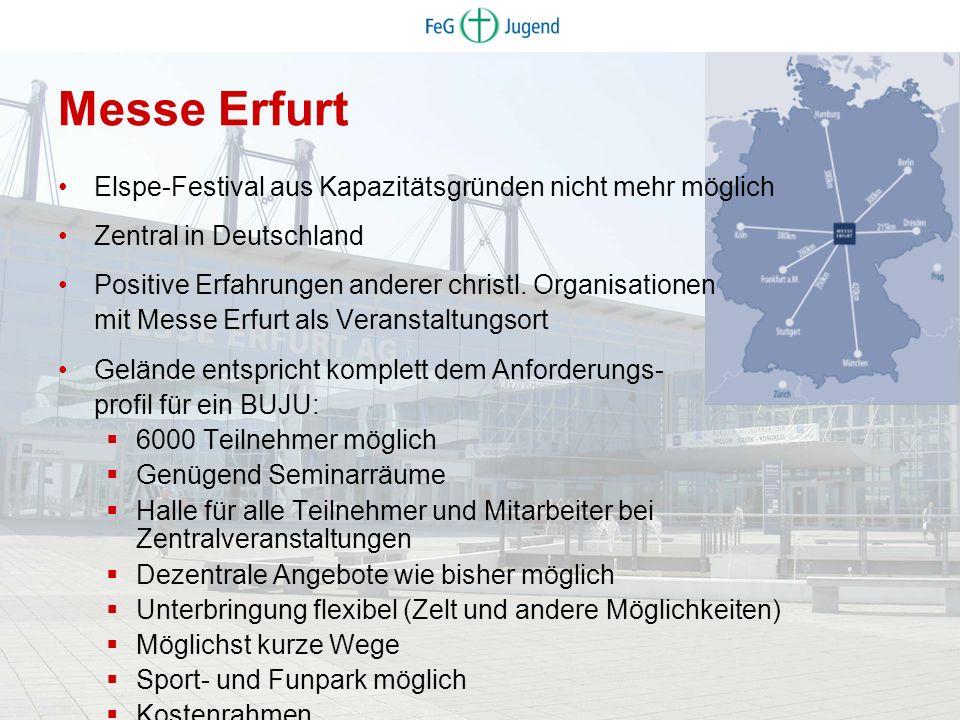 Elspe-Festival aus Kapazitätsgründen nicht mehr möglich Zentral in Deutschland Positive Erfahrungen anderer christl. Organisationen mit Messe Erfurt a