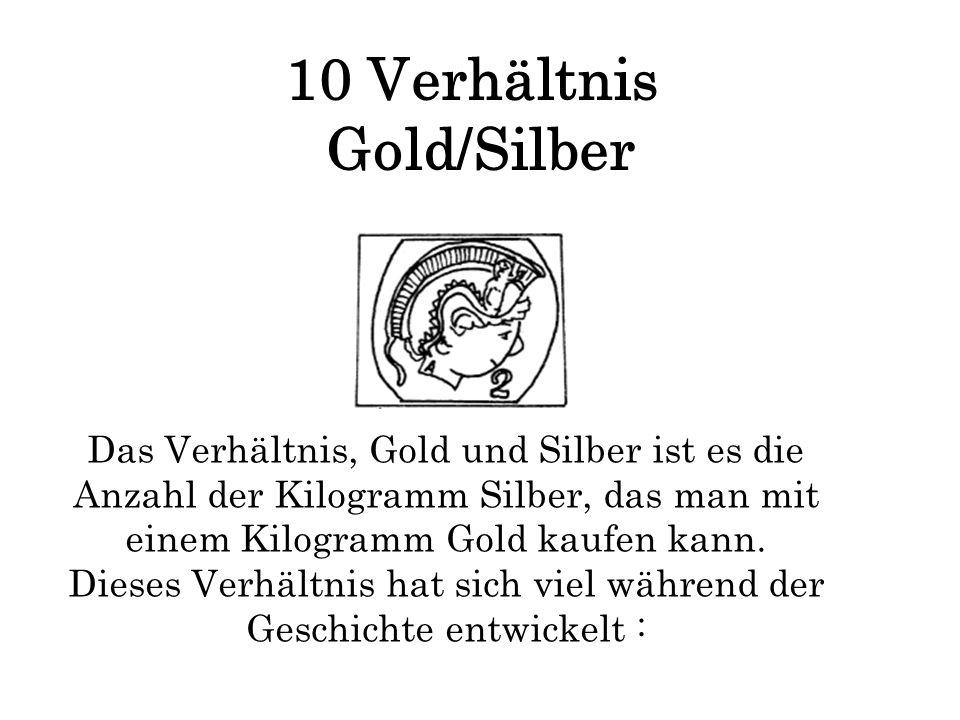 10 Verhältnis Gold/Silber Das Verhältnis, Gold und Silber ist es die Anzahl der Kilogramm Silber, das man mit einem Kilogramm Gold kaufen kann. Dieses