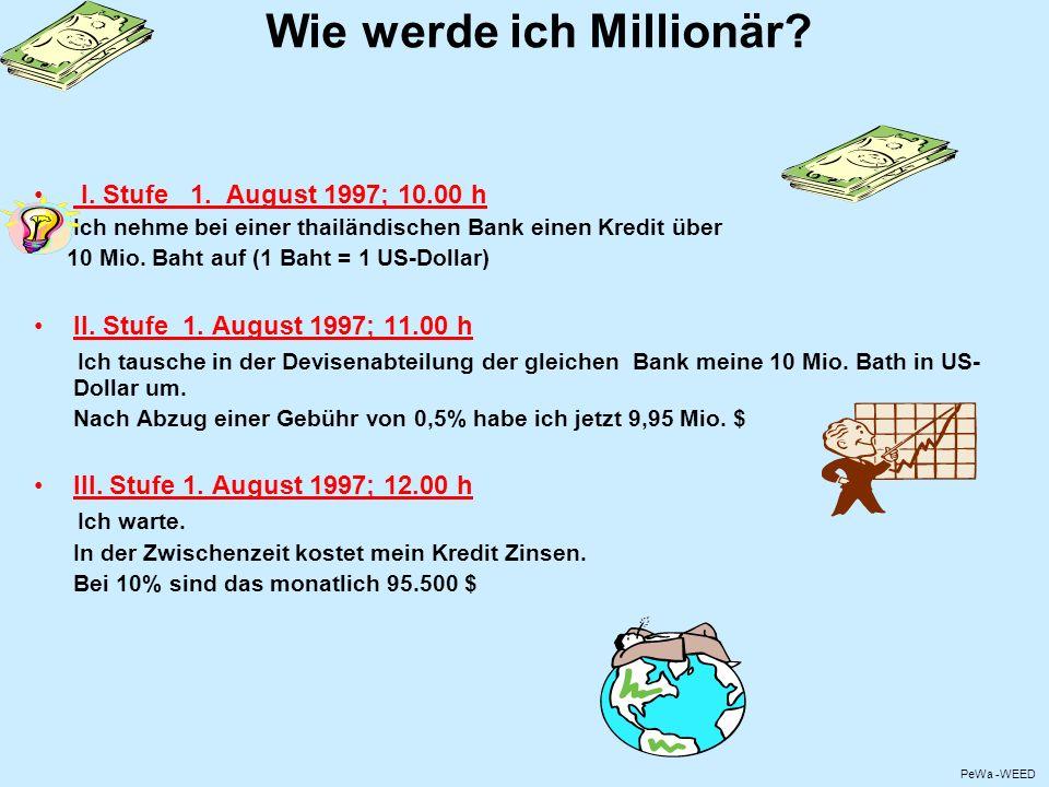 Wie werde ich Millionär? I. Stufe 1. August 1997; 10.00 h Ich nehme bei einer thailändischen Bank einen Kredit über 10 Mio. Baht auf (1 Baht = 1 US-Do