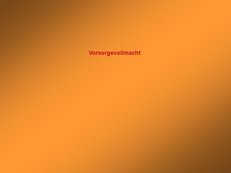 Stephan Thomae Patientenautonomie: Vorsorgevollmacht – Betreuungsverfügung - Patientenverfügung Geschäfts- unfähigkeit/ Einwilligungs- unfähigkeit Gesetzliches Sorgerecht Vorsorge- vollmacht Betreuungs- verfügung Patienten- verfügung FormInhaltVerwahrungVerbindlichkeit Anweisung für Art und Umfang ärztlicher Behandlung bei Einwilligungsunfähigkeit Entscheidung zwischen kurativer und palliativer Behandlung Reanimation bei Herz-Kreislauf- oder Atemstillstand Anwendung nicht zugelassener Behandlungsmethoden, Verwendung nicht zugelassener Medikamente Bluttransfusion Organtransplantation (TransplantationsG vom 01.12.1997) Organspende Sterbehilfe [aktive/passive, direkte/indirekte] ( Verbindlichkeit) künstliche Beatmung Künstliche Ernährung und Flüssigkeitszufuhr durch PEG-Sonde (perkutane endoskopisch kontrollierte Gastronomie)