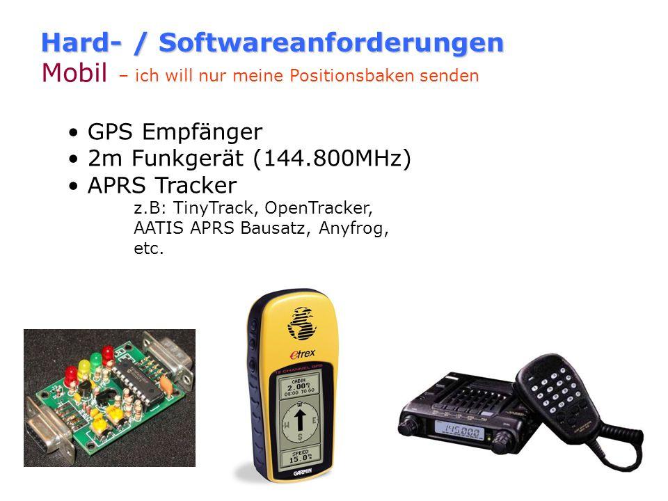Hard- / Softwareanforderungen Stationär - mit Kartendarstellung 2m Funkgerät (144.800MHz) 1k2 fähiger TNC / Minimodem / Soundkarte PC mit APRS Softwar