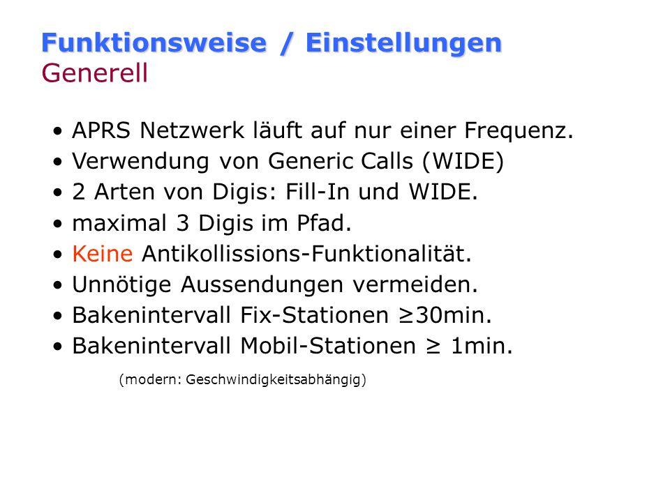 Funktionsweise / Einstellungen Generell WIDE WIDEm-n I-Gate Pfadeinstellungen APRS-Knigge Einstellungen anhand UI-View.