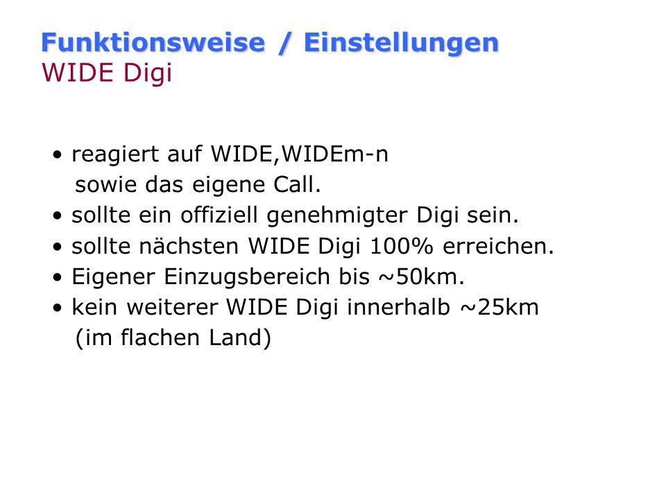 Funktionsweise / Einstellungen Fill-In Digi - Beispiel DL8RO-5DM0DM [Fill-In] DL8RO-5>WIDE1-1,WIDE2-2 DL8RO-5>DM0DM*,WIDE2-2 Bei Digipeating wird das
