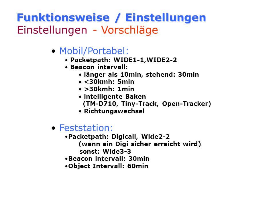Funktionsweise / Einstellungen Pfadeinstellungen WIDE1-1 darf nur am Anfang des Pfades stehen. DL8RO-5>WIDE1-1,WIDE2-2 WIDE1-1 im Pfad nur bei Mobil/P
