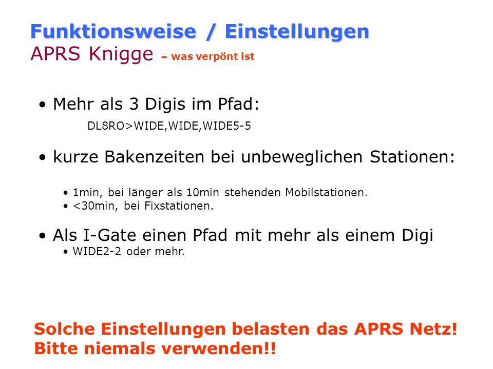 Funktionsweise / Einstellungen APRS Knigge – wie mans nicht machen sollte als Privatstation als WIDE Digi arbeiten, wenn es schon WIDE-Digis in der nä
