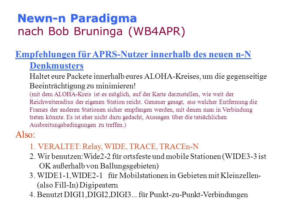 Newn-n Paradigma nach Bob Bruninga (WB4APR) Das neue n-N Denkmuster ändert nicht nur einige Digipeater-Parameter, sondern hebt auch die Aufklärung der