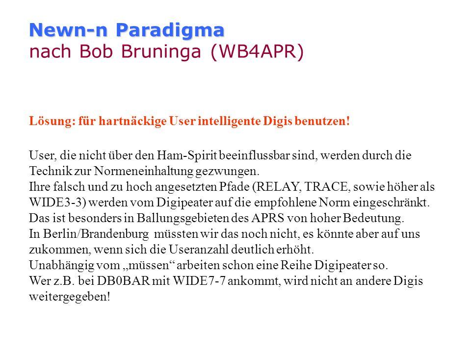 Newn-n Paradigma nach Bob Bruninga (WB4APR) Lösung: veraltete Relay und WIDE Pfade aus dem Verkehr ziehen: Die größte Verbesserung in den meisten Gebi