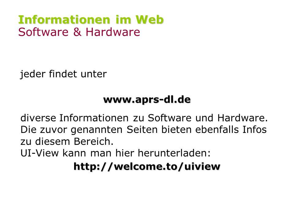 Informationen im Web Allgemeine Informationen www.tapr.org www.tapr.org – Spezifikation des APRS-Protokolles www.aprs.org www.aprs.org – Homepage des
