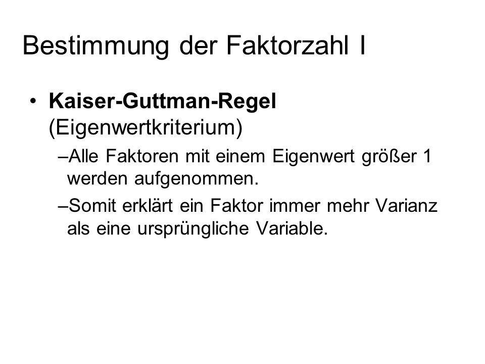 Bestimmung der Faktorzahl I Kaiser-Guttman-Regel (Eigenwertkriterium) –Alle Faktoren mit einem Eigenwert größer 1 werden aufgenommen. –Somit erklärt e