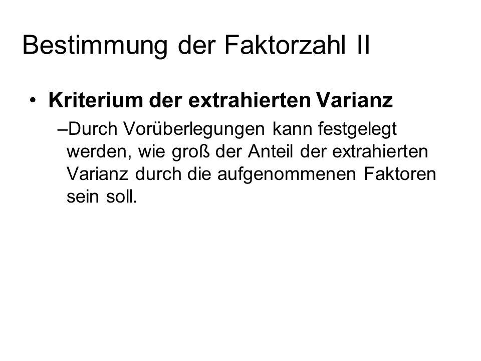 Kriterium der extrahierten Varianz –Durch Vorüberlegungen kann festgelegt werden, wie groß der Anteil der extrahierten Varianz durch die aufgenommenen