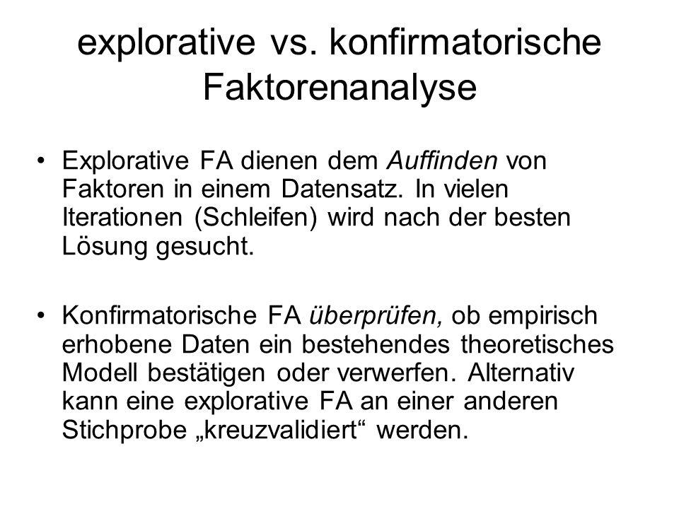 explorative vs. konfirmatorische Faktorenanalyse Explorative FA dienen dem Auffinden von Faktoren in einem Datensatz. In vielen Iterationen (Schleifen