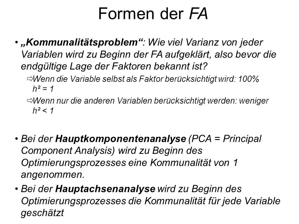 Formen der FA Kommunalitätsproblem: Wie viel Varianz von jeder Variablen wird zu Beginn der FA aufgeklärt, also bevor die endgültige Lage der Faktoren
