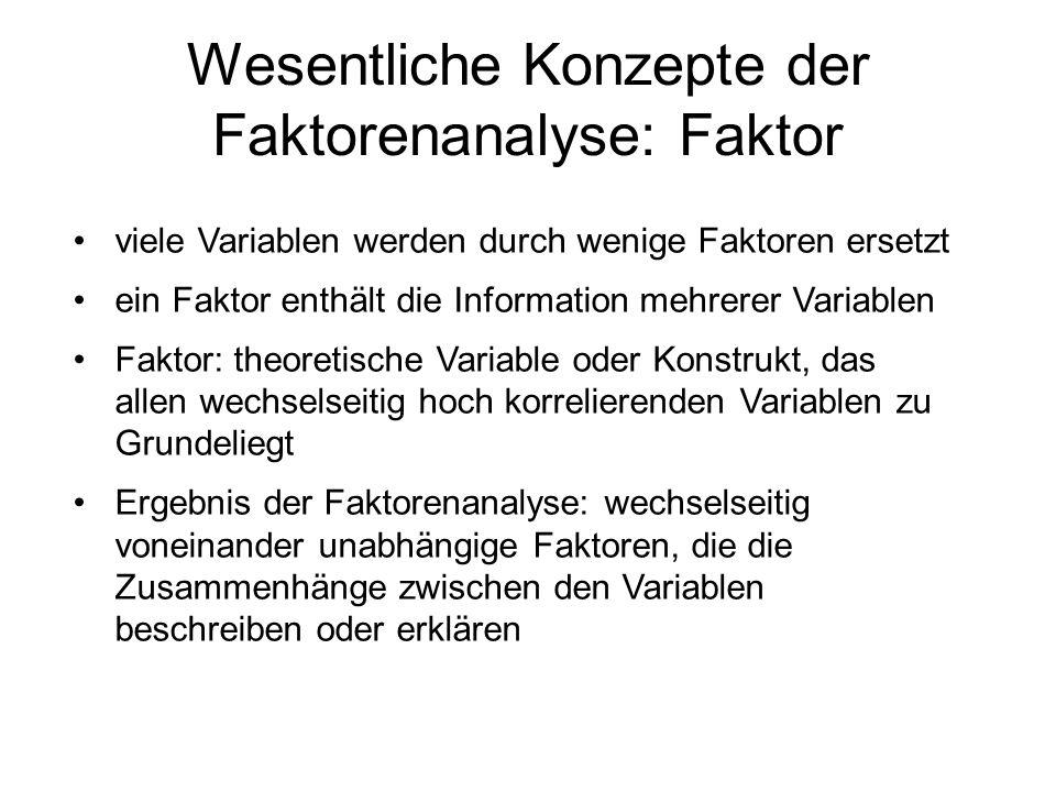 viele Variablen werden durch wenige Faktoren ersetzt ein Faktor enthält die Information mehrerer Variablen Faktor: theoretische Variable oder Konstruk