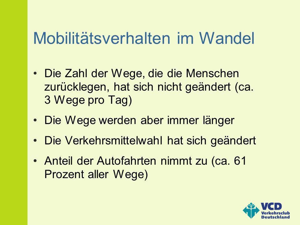 Mobilitätsverhalten im Wandel Die Zahl der Wege, die die Menschen zurücklegen, hat sich nicht geändert (ca. 3 Wege pro Tag) Die Wege werden aber immer