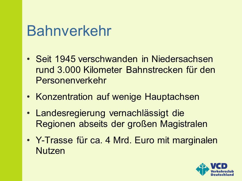 Bahnverkehr Seit 1945 verschwanden in Niedersachsen rund 3.000 Kilometer Bahnstrecken für den Personenverkehr Konzentration auf wenige Hauptachsen Lan