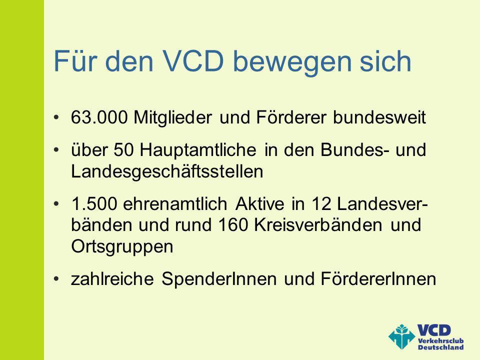 Für den VCD bewegen sich 63.000 Mitglieder und Förderer bundesweit über 50 Hauptamtliche in den Bundes- und Landesgeschäftsstellen 1.500 ehrenamtlich