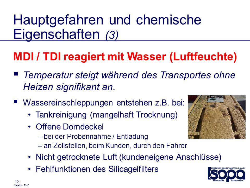 Version 2010 12 Hauptgefahren und chemische Eigenschaften (3) MDI / TDI reagiert mit Wasser (Luftfeuchte) Temperatur steigt während des Transportes oh