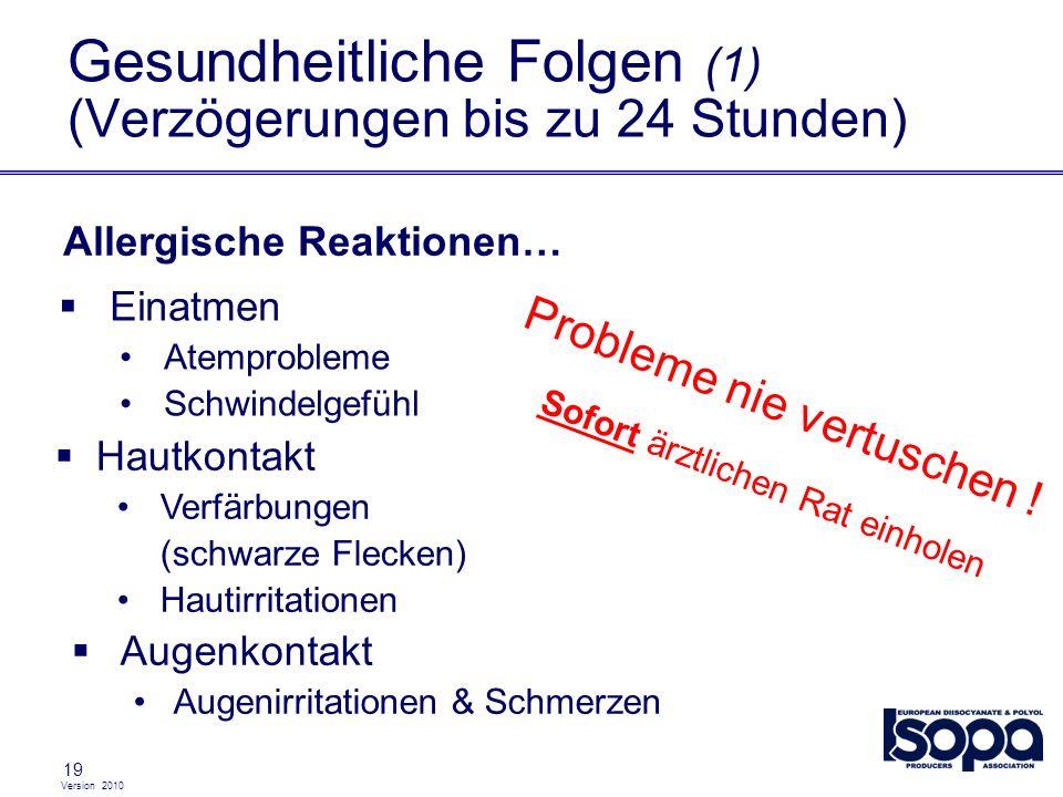Version 2010 19 Gesundheitliche Folgen (1) (Verzögerungen bis zu 24 Stunden) Einatmen Atemprobleme Schwindelgefühl Hautkontakt Verfärbungen (schwarze