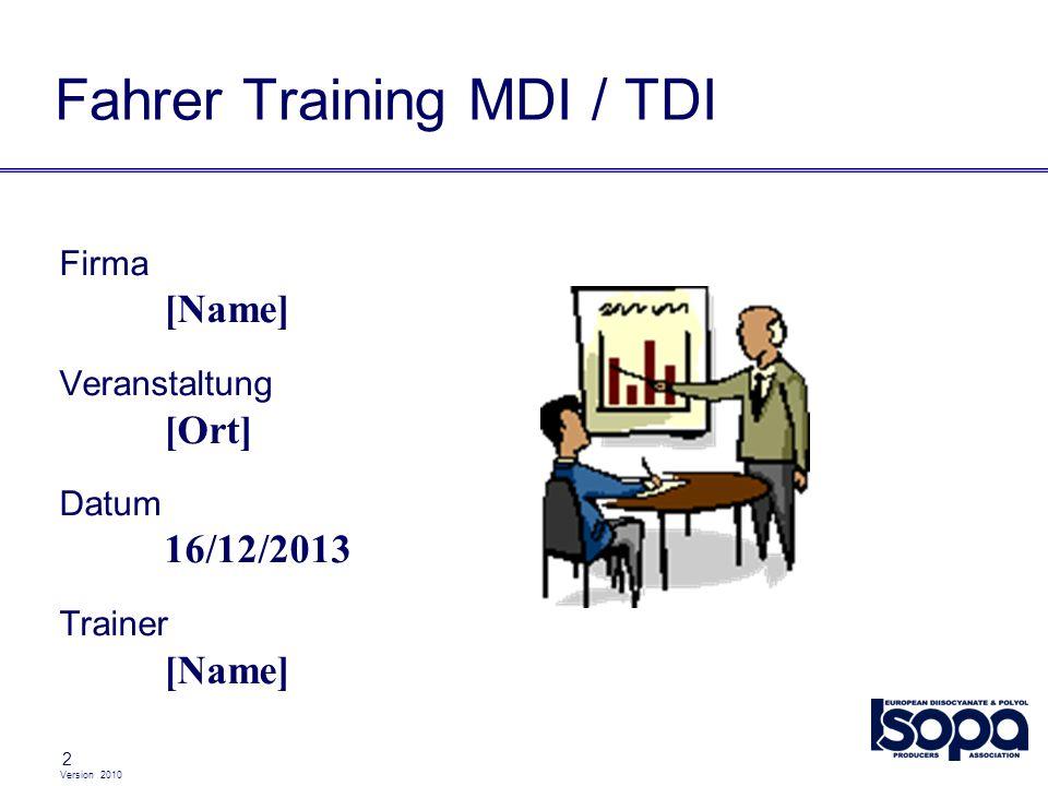 2 Fahrer Training MDI / TDI Firma [Name] Veranstaltung [Ort] Datum 16/12/2013 Trainer [Name]