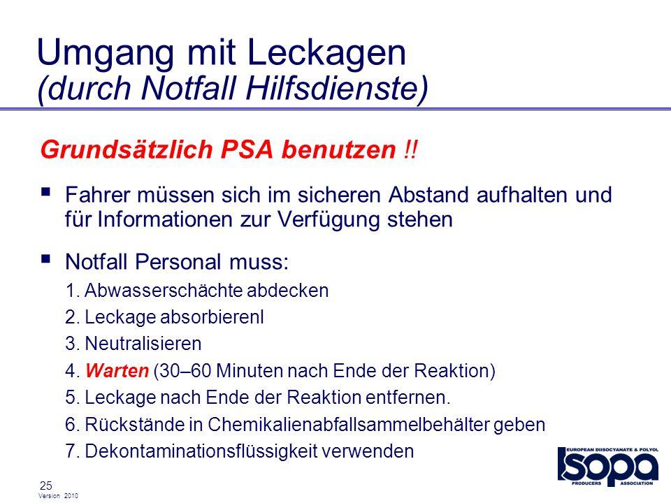Version 2010 25 Umgang mit Leckagen (durch Notfall Hilfsdienste) Grundsätzlich PSA benutzen !! Fahrer müssen sich im sicheren Abstand aufhalten und fü