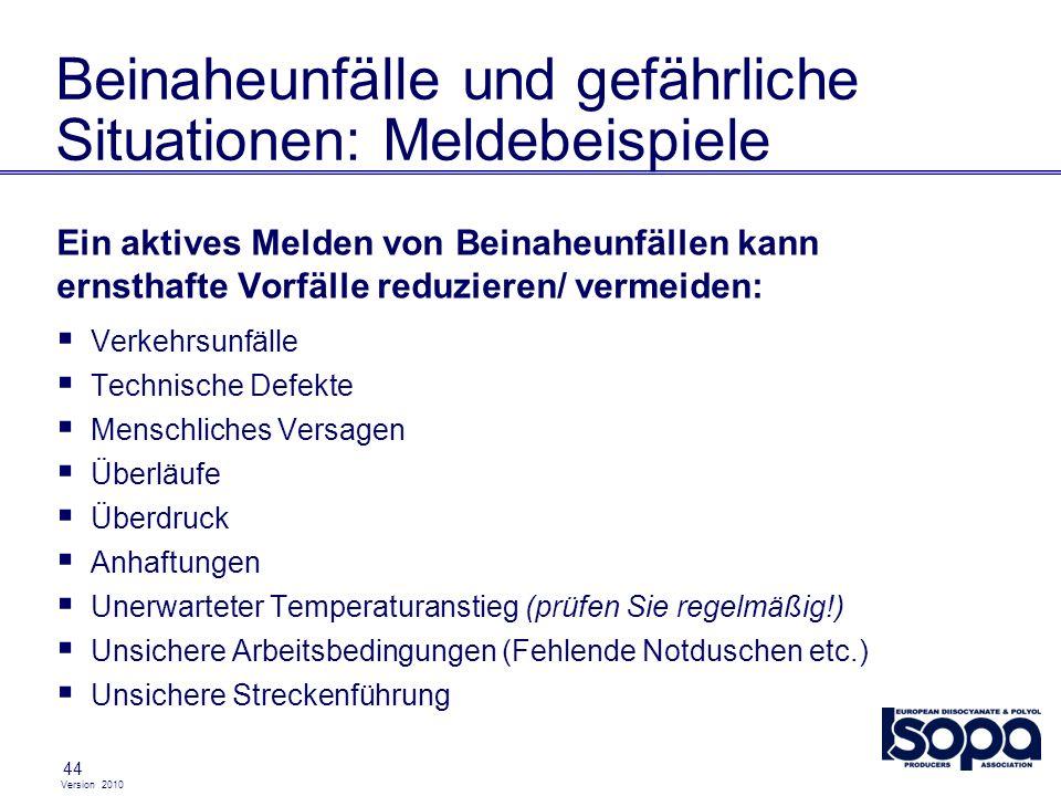 Version 2010 44 Beinaheunfälle und gefährliche Situationen: Meldebeispiele Ein aktives Melden von Beinaheunfällen kann ernsthafte Vorfälle reduzieren/