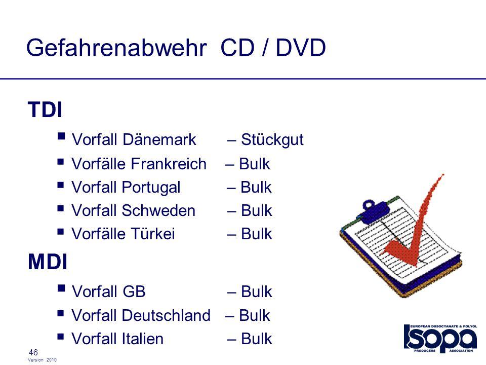 Version 2010 46 Gefahrenabwehr CD / DVD TDI Vorfall Dänemark– Stückgut Vorfälle Frankreich – Bulk Vorfall Portugal – Bulk Vorfall Schweden– Bulk Vorfä