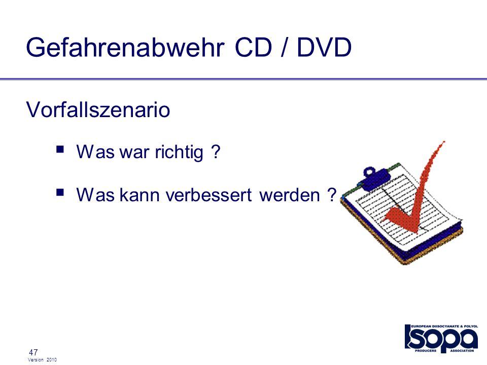 Version 2010 47 Gefahrenabwehr CD / DVD Vorfallszenario Was war richtig ? Was kann verbessert werden ?