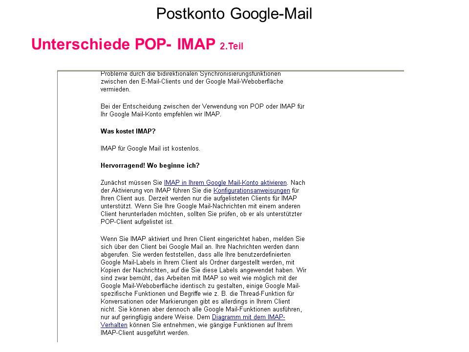 Postkonto Google-Mail Unterschiede POP- IMAP 2.Teil
