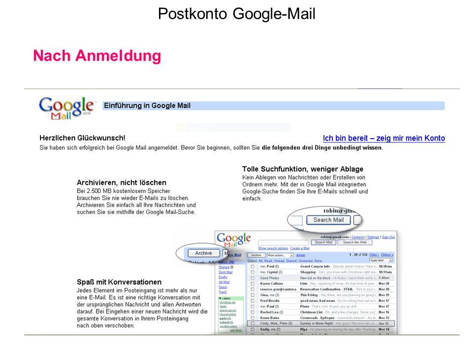 Postkonto Google-Mail Nach Anmeldung