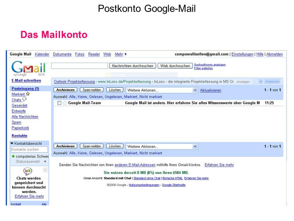 Postkonto Google-Mail Das Mailkonto
