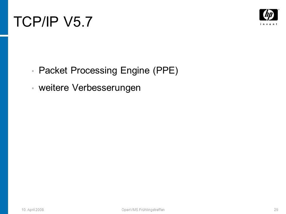 10. April 2008OpenVMS Frühlingstreffen29 TCP/IP V5.7 Packet Processing Engine (PPE) weitere Verbesserungen