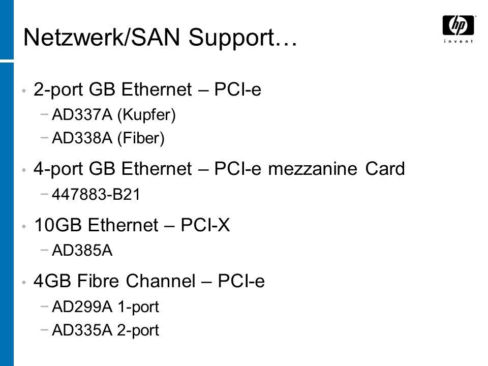 derzeit im Test: 4-port GB Ethernet – PCI-e AD339A (Kupfer) 4GB Fibre Channel/GB Ethernet – PCI-e AD221A (Kupfer) AD222A (Fiber) Virtual connect für 4-port GB-E mezzanine Card (447883-B21) …Netzwerk/SAN Support