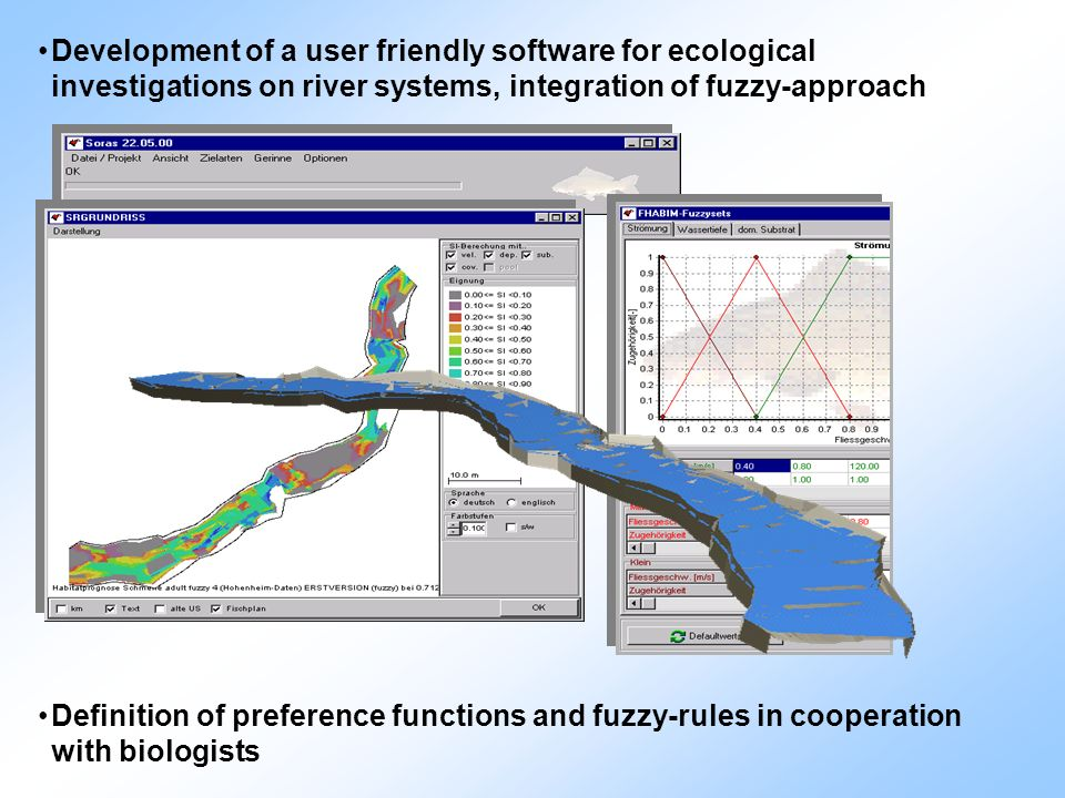 Development of a user friendly software for ecological investigations on river systems, integration of fuzzy-approach Definition of preference functio