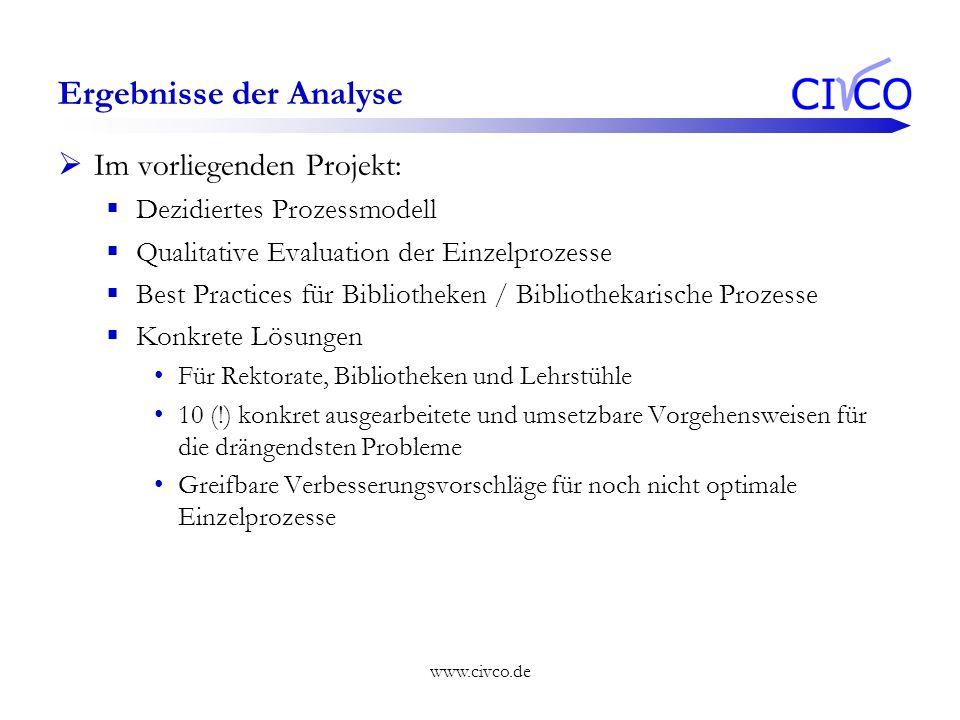 www.civco.de Im vorliegenden Projekt: Dezidiertes Prozessmodell Qualitative Evaluation der Einzelprozesse Best Practices für Bibliotheken / Bibliothek