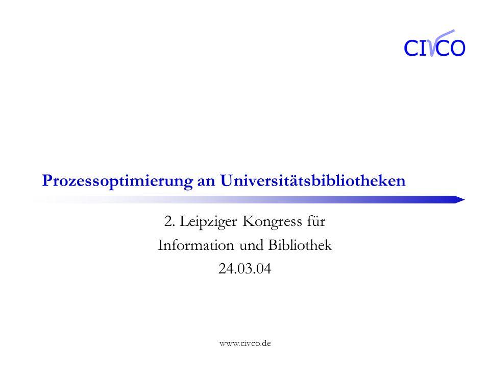 www.civco.de Prozessoptimierung an Universitätsbibliotheken 2. Leipziger Kongress für Information und Bibliothek 24.03.04