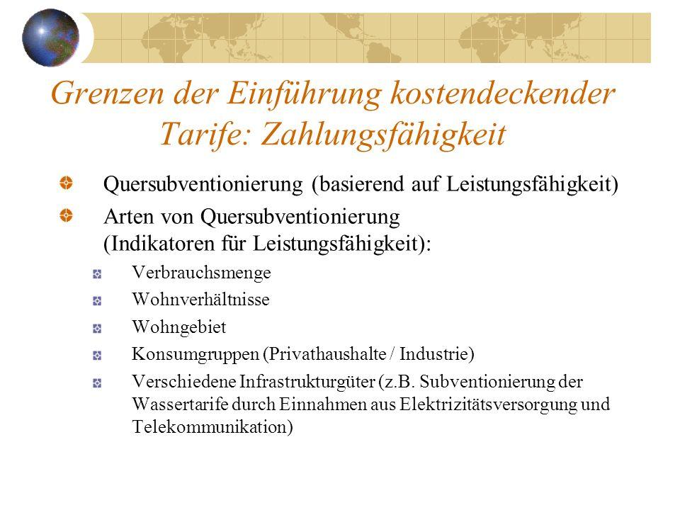 Grenzen der Einführung kostendeckender Tarife: Zahlungsfähigkeit Quersubventionierung (basierend auf Leistungsfähigkeit) Arten von Quersubventionierun