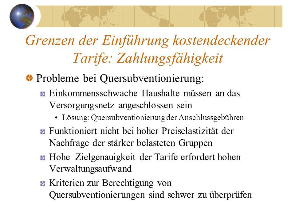 Grenzen der Einführung kostendeckender Tarife: Zahlungsfähigkeit Probleme bei Quersubventionierung: Einkommensschwache Haushalte müssen an das Versorg